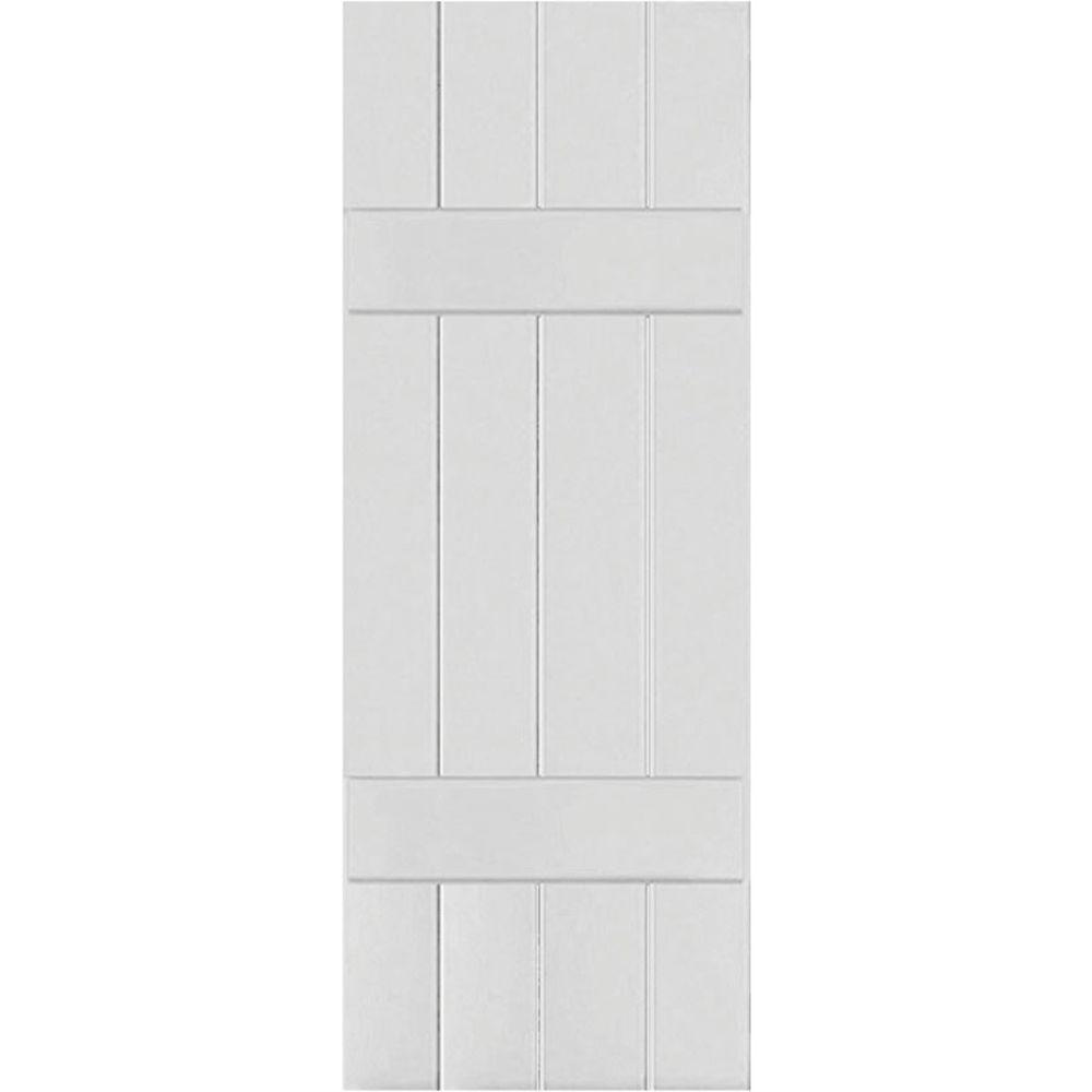 Ekena Millwork 15 in. x 79 in. Exterior Real Wood Western Red Cedar Board & Batten Shutters Pair Primed