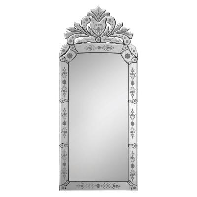 Small Rectangle All Glass Beveled Glass Modern Mirror (19 in. H x 43 in. W)