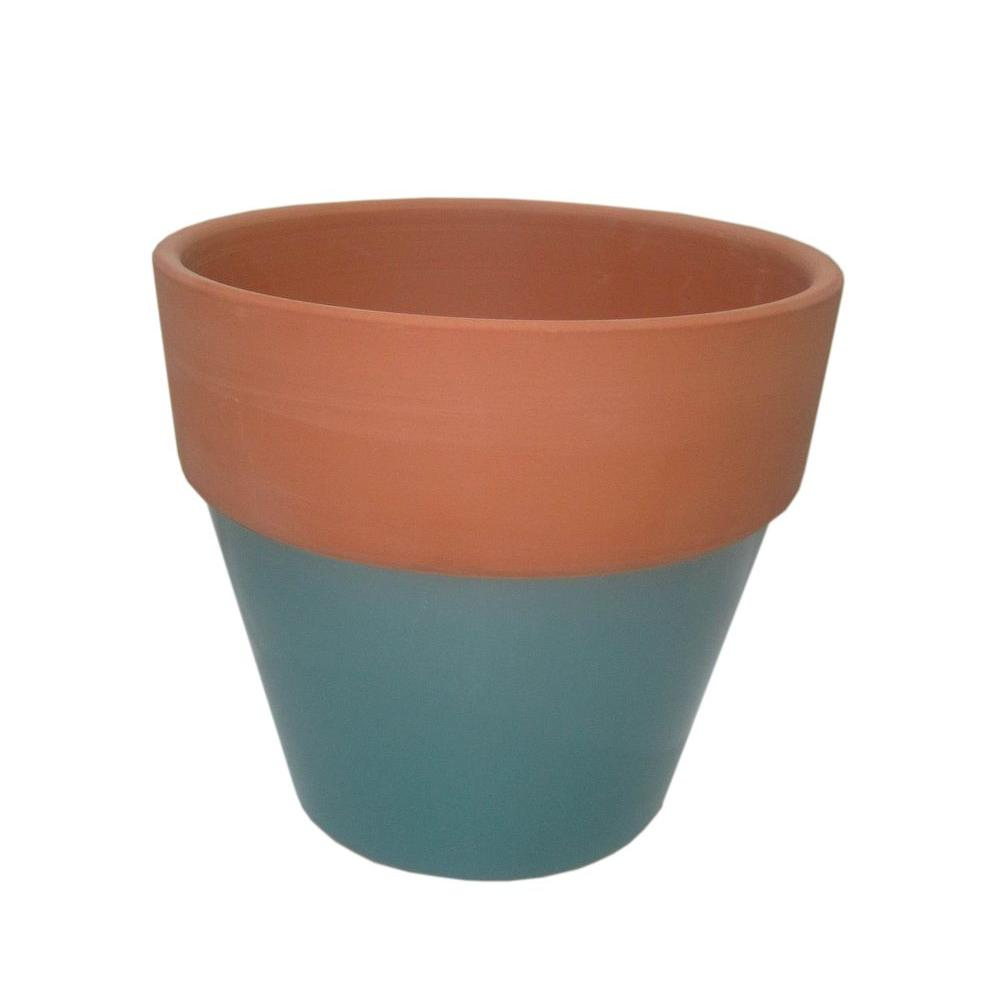 6 1 2 in round glazed clay flower pot ybh027 the home depot for Small clay flower pots