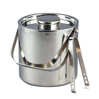 3 Qt. Large Stainless Steel Double Wall Ice Bucket with Tongs