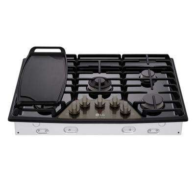 30 in. Gas Cooktop in Black Stainless Steel with 5 Burners including Ultraheat Dual Burner