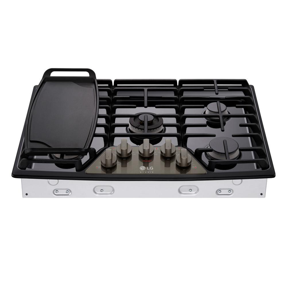 LG STUDIO 30 in. Gas Cooktop in Black Stainless Steel with 5 Burners including Ultraheat Dual Burner