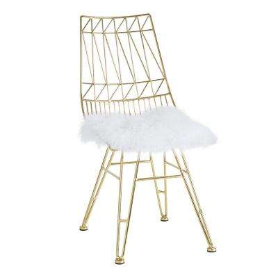 Allure White and Gold Sheepskin Seat