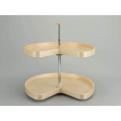 32 in. Banded Wood Kidney Lazy Susans 2-Shelf