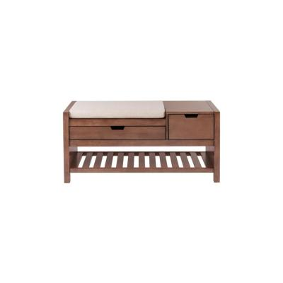 Home Decorators Collection Haze Finish Wood Entryway Bench with Cushion and Concealed Storage (41.5 in. W x 19 in. H)