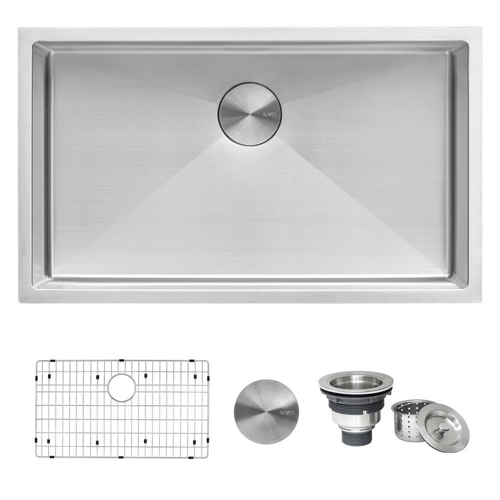 33 in. Single Bowl Undermount 16-Gauge Stainless Steel Kitchen Sink