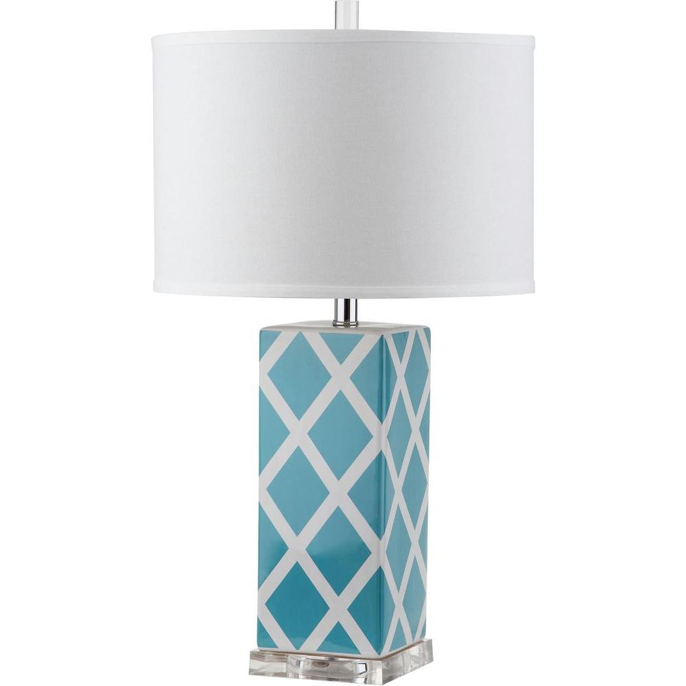 Garden Lattice 27 in. Light Blue Table Lamp with White Shade