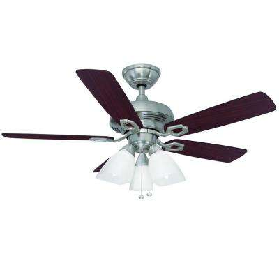 Saint David 44 in. Indoor Brushed Nickel Ceiling Fan with Light Kit