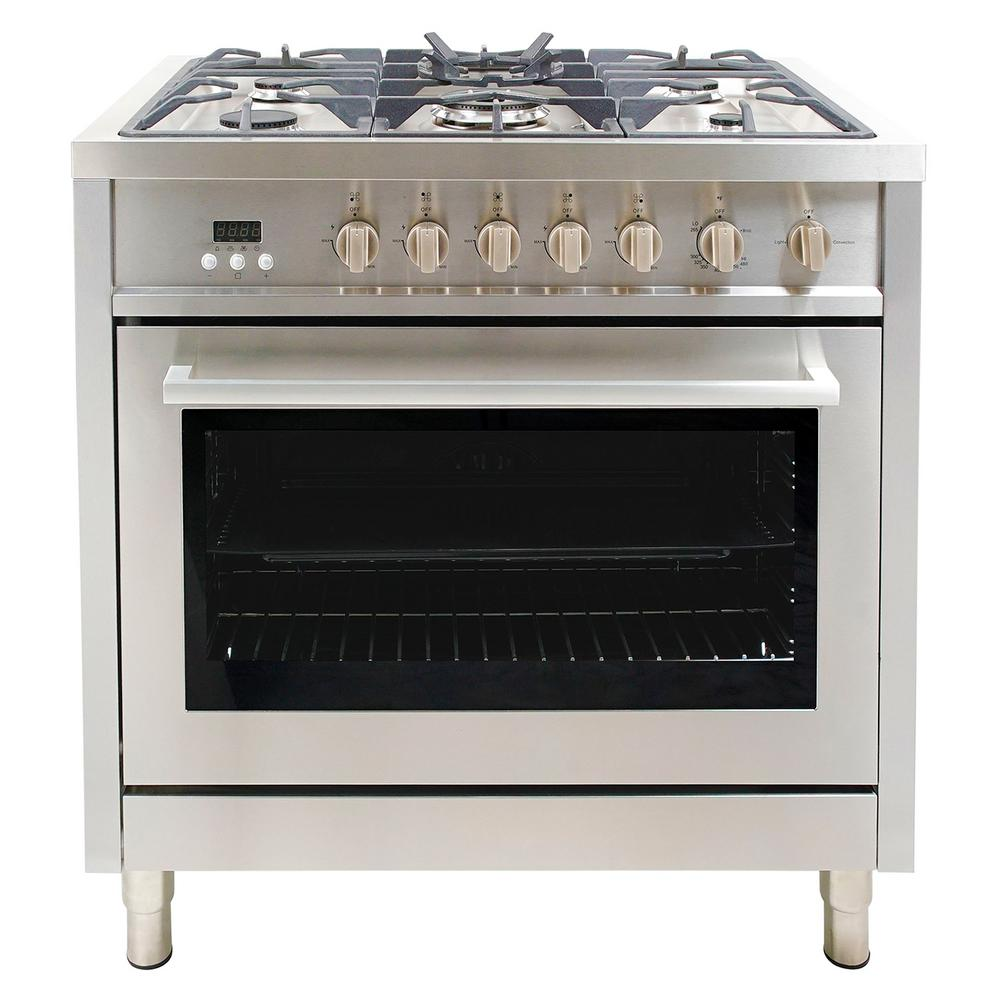 cosmo 36 in 38 cu ft dual fuel range with 8 function convection oven in stainless steelf965 the home depot ancona gourmet series 36 in 5 burners