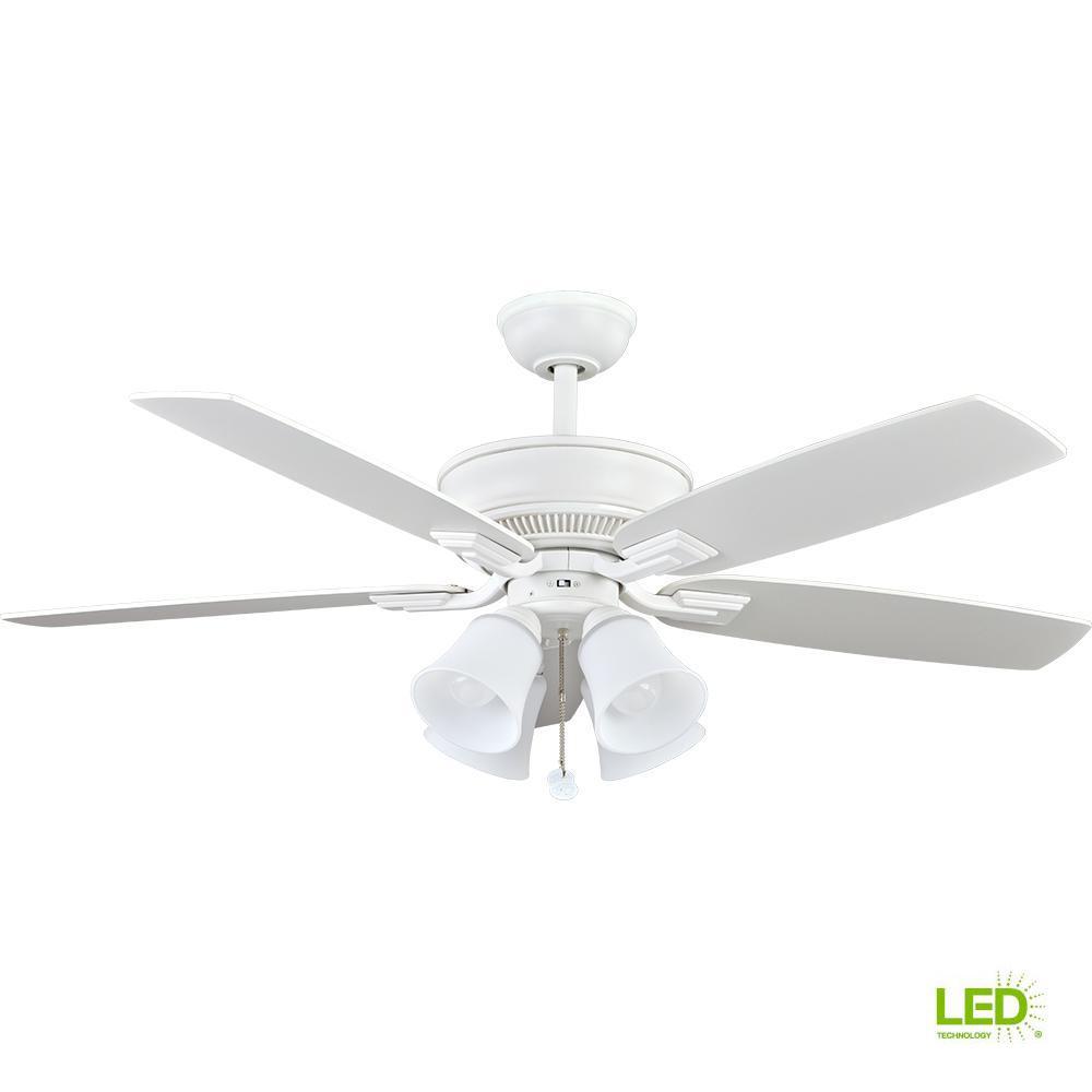 Led Indoor Matte White Ceiling Fan With Light Kit