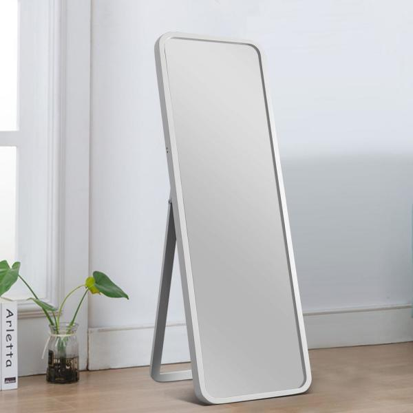 55.1 in. x 15.7 in. Classic Rectangle Wood Framed Rounded Full Length Floor Standing Mirror