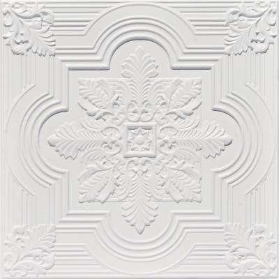 Large Snowflake 2 ft. x 2 ft. PVC Glue-up or Lay-in Ceiling Tile in White Matte