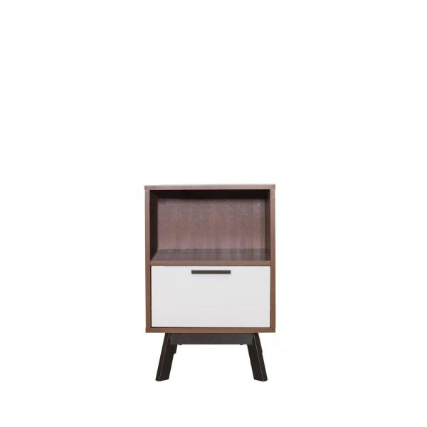 Homestar Milan 1 Drawer Two Tone Nightstand in Vintage Umber with White