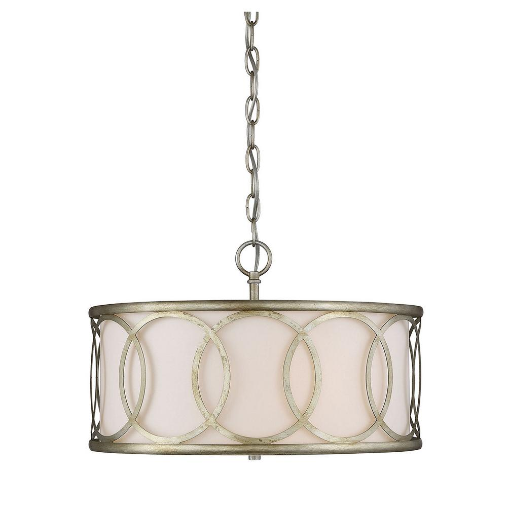 3-Light Argentum Pendant with White Fabric Shade