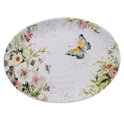 Spring Meadows Multi-Colored 16 in. Earthenware Oval Platter