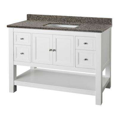 Gazette 49 in. W x 22 in. D Vanity in White with Granite Vanity Top in Sircolo with White Sink