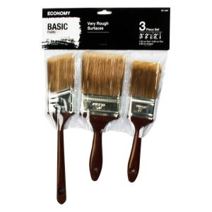 2 inch Flat, 3 inch Flat and 2 inch Angle Sash Paint Brush Set (3-Piece) by