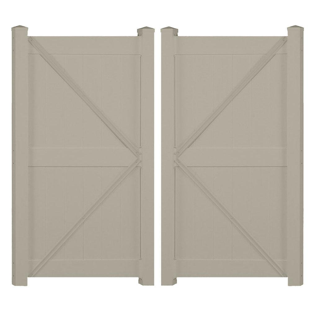 Augusta 7.4 ft. x 6 ft. Khaki Vinyl Privacy Fence Double