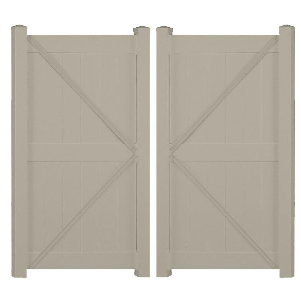 Augusta 7.4 ft. x 7 ft. Khaki Vinyl Privacy Fence Double Gate Kit