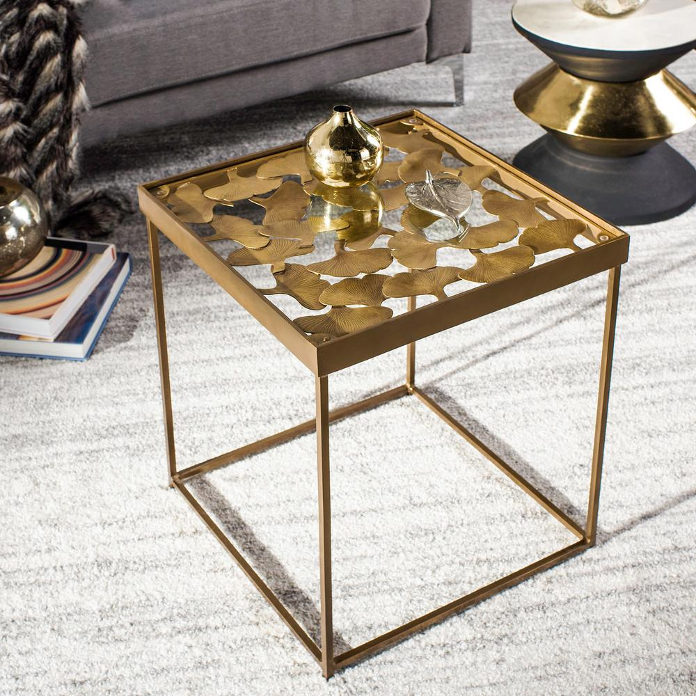 Safavieh Lilian Antique Brass Glass Side Table Fox3218a The Home Depot
