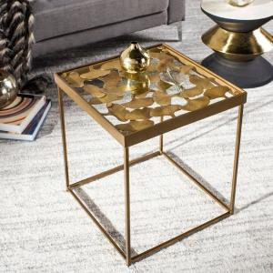 check out a0a8f f509d Safavieh Lilian Antique Brass Glass Side Table FOX3218A ...