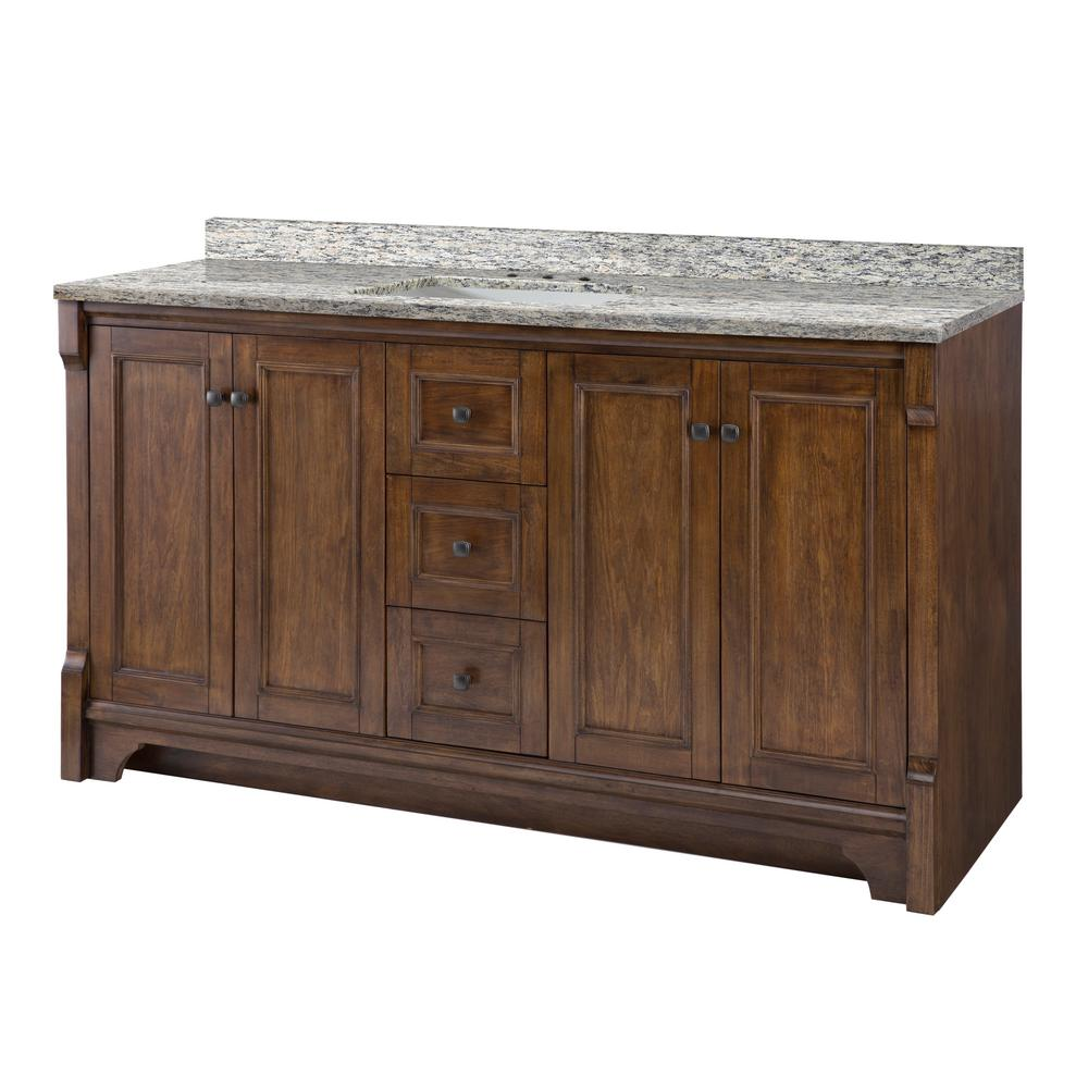 Home Decorators Collection Creedmoor 61 in. W x 22 in. D Vanity in Walnut with Granite Vanity Top in Santa Cecilia with White Sink