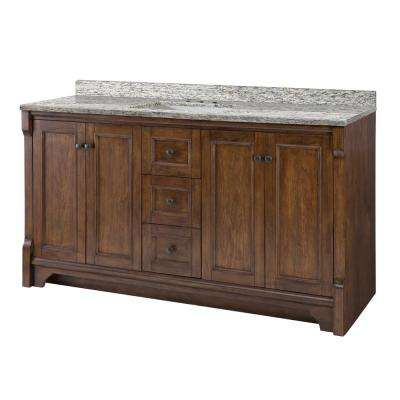 Creedmoor 61 in. W x 22 in. D Vanity in Walnut with Granite Vanity Top in Santa Cecilia with White Sink