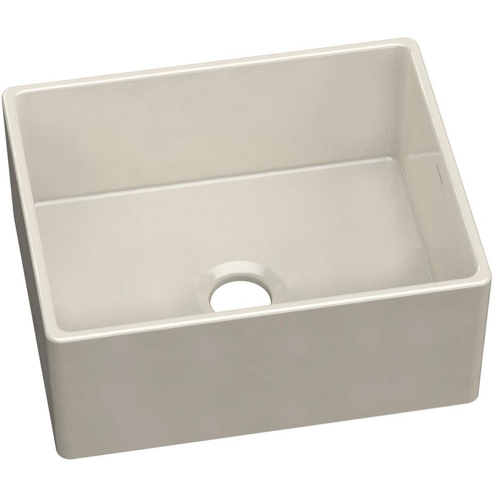 Elkay Farmhouse Apron Front Fireclay 24 in. Single Bowl Kitchen Sink in Biscuit was $649.15 now $357.03 (45.0% off)