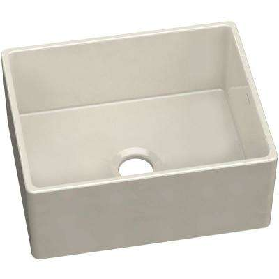 Farmhouse Apron Front Fireclay 24 in. Single Bowl Kitchen Sink in Biscuit