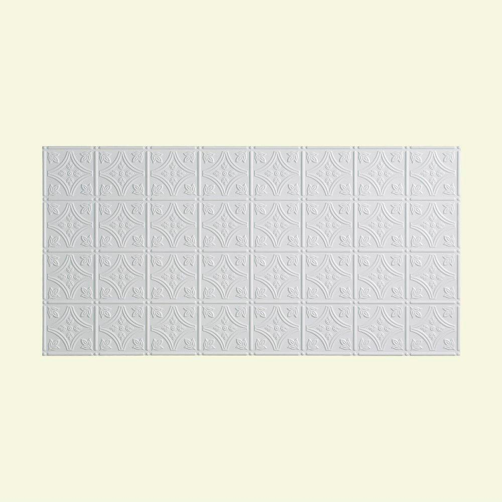 Fasade Traditional 1 - 2 ft. x 4 ft. Glue-up Ceiling Tile in Gloss White