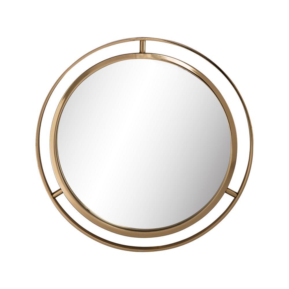 24 in. D Deluxe Round Gold Mirror