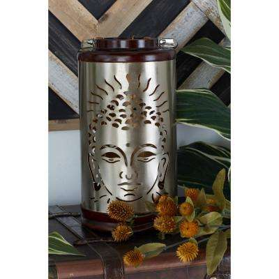 Brass Gold-Finished Buddha and Tree Candle Lanterns (Set of 2)