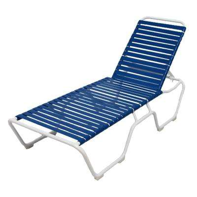 Marco Island White Commercial Grade Aluminum Vinyl Strap Outdoor Chaise Lounge in Blue (2-Pack)