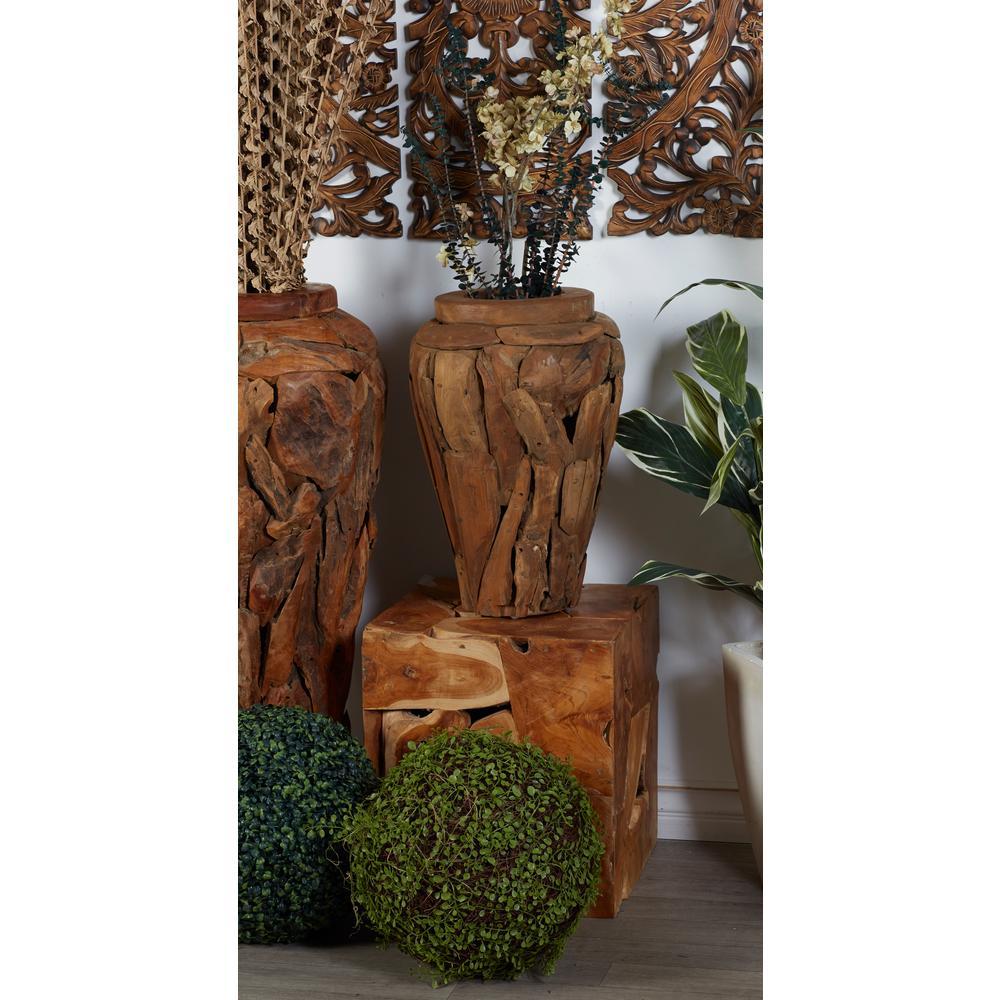 Litton Lane Brown Teak Wood Urn Shaped Tall Decorative Vase