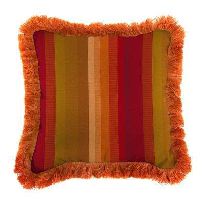 Sunbrella Astoria Sunset Square Outdoor Throw Pillow with Tuscan Fringe