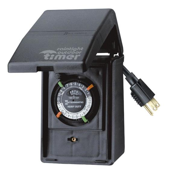 15 Amp 24-Hour Outdoor Timer for Lights, Pumps and Decorations, Black