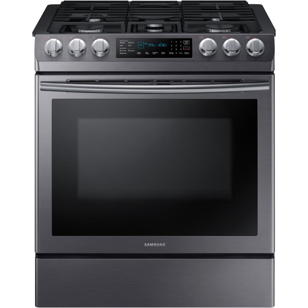 Samsung 30 in. 5.8 cu. ft. Single Oven Gas Slide-In Range with Self-Cleaning and Fan Convection Oven in Black Stainless Steel, Fingerprint Resistant was $1899.0 now $1033.2 (46.0% off)