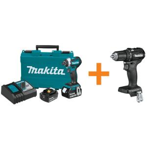 Makita 18-Volt Lithium-Ion Brushless Impact Driver Kit (5.0Ah) with Sub-Compact BL 1/2 inch Driver Drill... by Makita