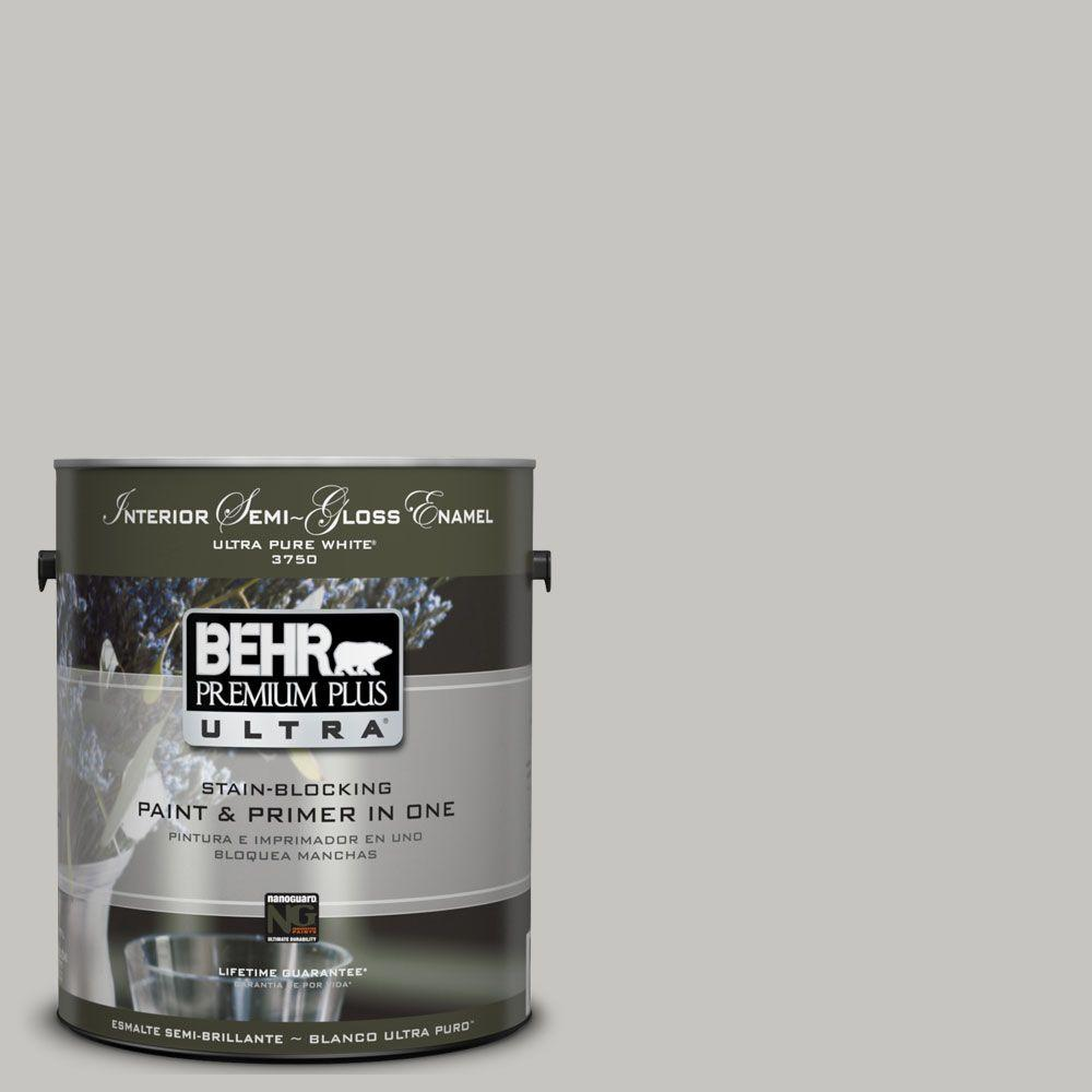BEHR Premium Plus Ultra 1-gal. #UL260-16 Silver Sateen Interior Semi-Gloss Enamel Paint