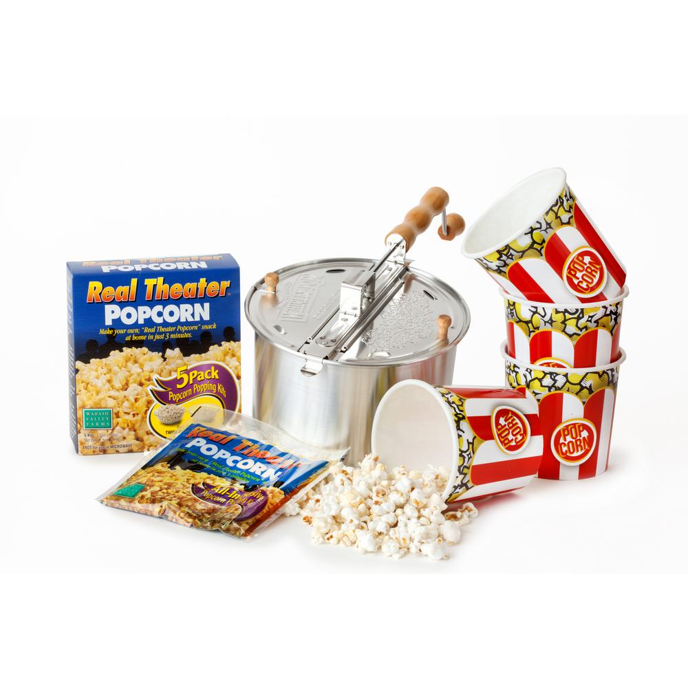 10-Piece Aluminum Silver Stovetop Popcorn Popper Set with Popcorn and Tubs The 10-pc. Original Silver Aluminum Whirley-Pop Starter Set makes at home popcorn easy. It comes with everything you need for popcorn night, including popping kits and bowls. The Whirley-Pop is the ultimate popcorn machine and this set makes movie popcorn easy as 1-2-3, with the included bowls, popcorn and popper. With die-cast metal gears, durable aluminum components and a 25-year warranty on the mechanical and moving parts, popcorn has never been easier or tastier. Hand wash only when necessary, otherwise simply wipe down after use. Real Theater Popcorn Kits are pre-measured with the exact right amount of Gourmet Popcorn, Buttery Salt and Premium Coconut Oil; simply cut, pour and pop. Set includes 5 kits, each will make one full batch of Whirley-Pop Popcorn. Enjoy the delicious treat in the included popcorn bowls - reusable plastic with a fun, classic red and white stripe.