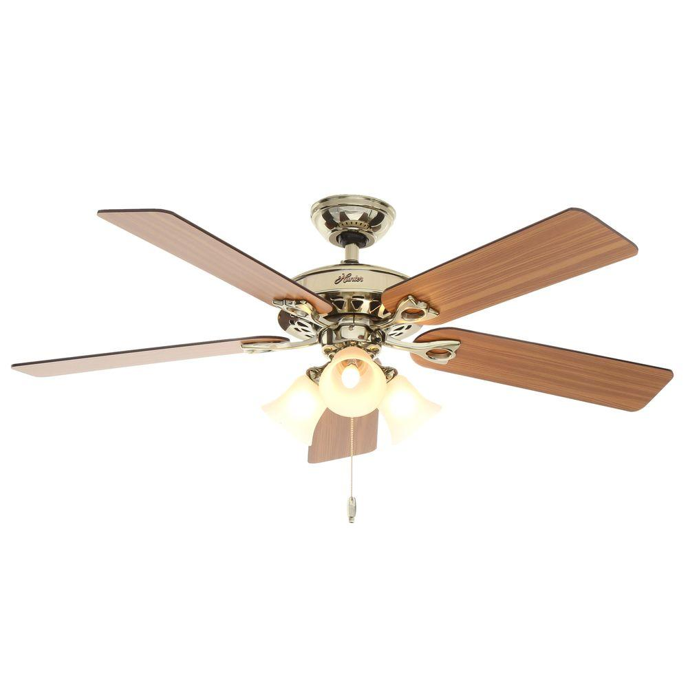 Hunter Sontera 52 in. Indoor Hill Bright Brass Ceiling Fan with Remote