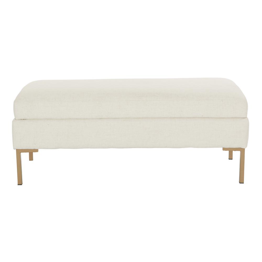 Astounding Burlington Linen Fabric Bench With Coated Gold Legs Andrewgaddart Wooden Chair Designs For Living Room Andrewgaddartcom