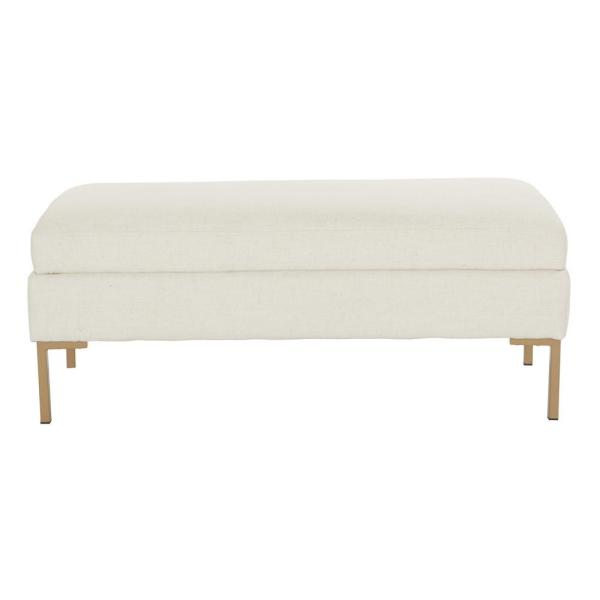 OSP Home Furnishings Burlington Linen Fabric Bench with Coated Gold Legs