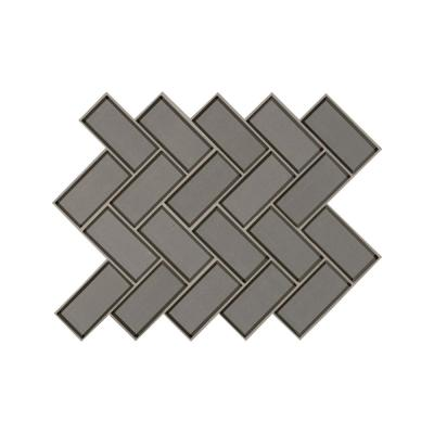 Champagne Bevel Herringbone 11.08 in. x 13.86 in. x 8mm Glass Mesh-Mounted Mosaic Tile (10.6 sq. ft. / case)