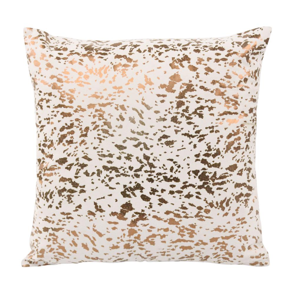 Beau TOV Furniture Leather Speckled Cream And Gold Throw Pillow