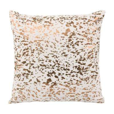 Leather Speckled Cream and Gold Throw Pillow