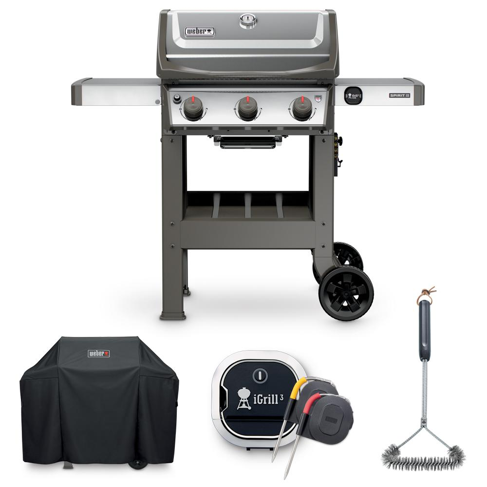 weber spirit ii s 310 liquid propane grill combo with grill brush cover and igrill 3. Black Bedroom Furniture Sets. Home Design Ideas