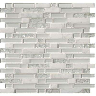 Delano Blanco 12 in. x 12 in. x 6 mm Glass Stone Mesh-Mounted Mosaic Tile (15 sq. ft./case)