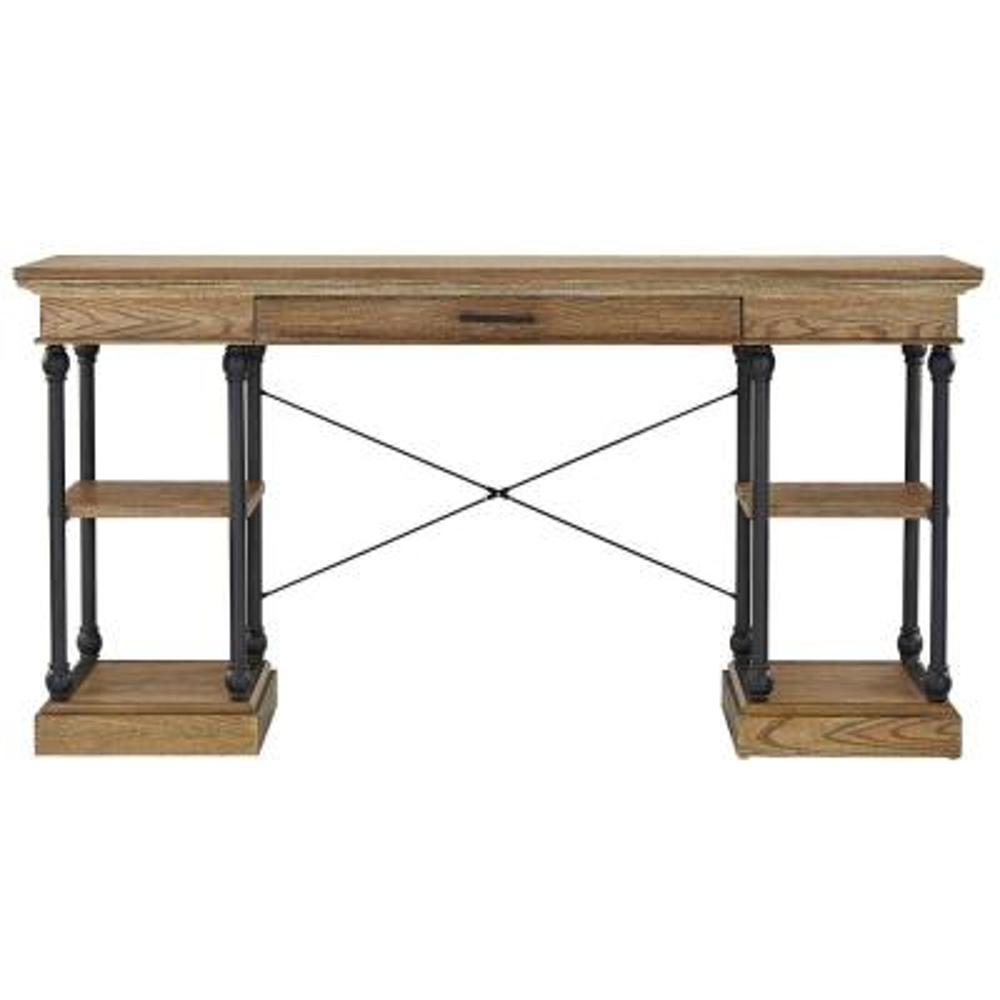59 in. Rectangular Vintage Oak 1 Drawer Writing Desk with Keyboard Tray