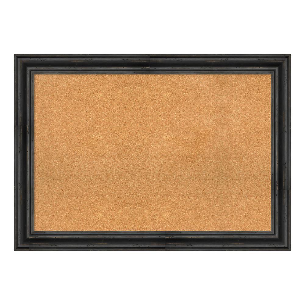 Rustic Pine Black Framed Cork Memo Board